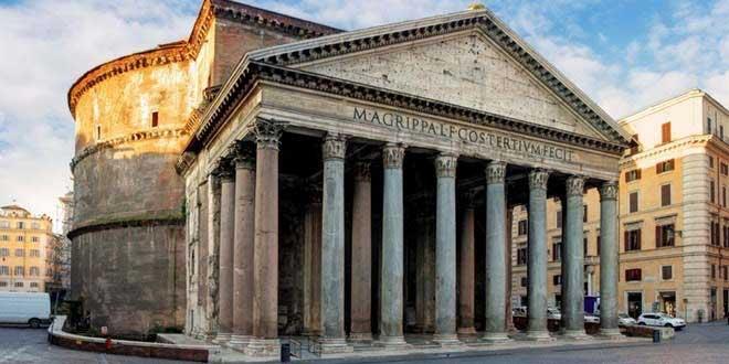 پانتون (معبد رومی )ساخته شده از بتن توسط رومیان – حدود سال 125 میلادی